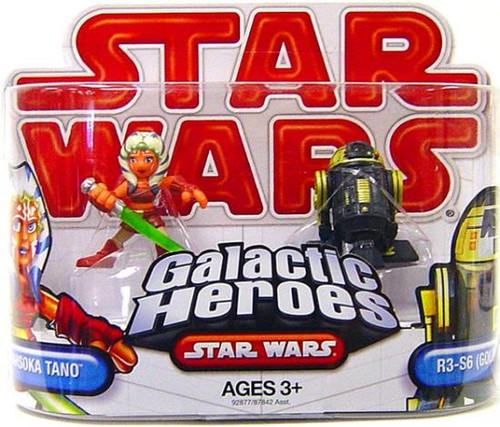 Star Wars The Clone Wars Galactic Heroes 2009 Ahsoka Tano & R3-S6 [Goldie] Mini Figure 2-Pack