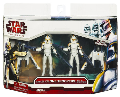 Star Wars The Clone Wars Vehicles & Action Figure Sets 2009 212th Battalion Clone Troopers with Jet Backpacks Action Figure Set