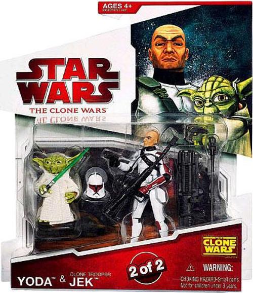 Star Wars The Clone Wars Clone Wars 2009 Yoda & Clone Trooper Jek Action Figure 2-Pack
