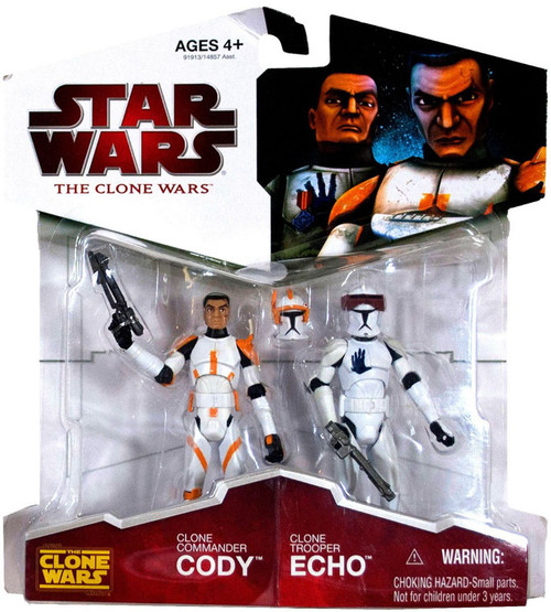 Star Wars The Clone Wars Clone Wars 2009 Clone Commander Cody & Clone Trooper Echo Exclusive Action Figure 2-Pack