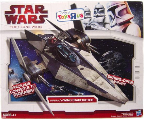 Star Wars The Clone Wars Vehicles 2009 Imperial V-Wing Starfighter Exclusive Action Figure Vehicle