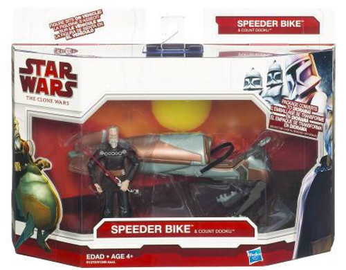 Star Wars The Clone Wars Vehicles & Action Figure Sets 2009 Speeder Bike and Count Dooku Action Figure Set