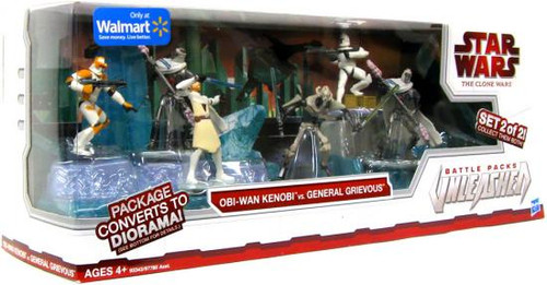 Star Wars The Clone Wars Unleashed Battle Packs 2009 Obi-Wan Kenobi vs. General Grievous Exclusive Action Figure Set [2 of 2]