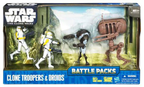 Star Wars The Clone Wars Battle Packs 2010 Clone Troopers & Droids Action Figure Set
