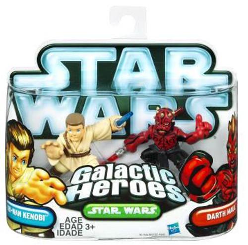 Star Wars The Phantom Menace Galactic Heroes 2010 Obi-Wan Kenobi & Darth Maul Mini Figure 2-Pack