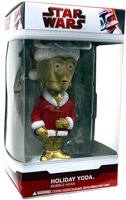 Funko Star Wars Wacky Wobbler Holiday C-3PO in Holiday Yoda Box Bobble Head
