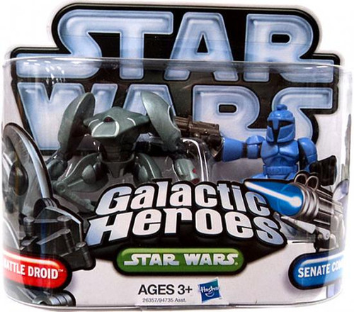 Star Wars The Clone Wars Galactic Heroes 2010 Aqua Battle Droid & Senate Commando Mini Figure 2-Pack
