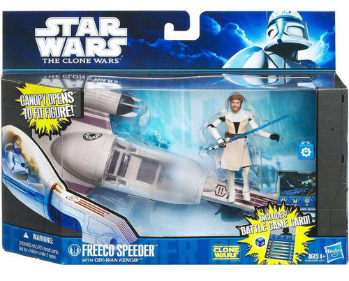 Star Wars The Clone Wars Vehicles & Action Figure Sets 2011 Freeco Speeder with Obi -Wan Kenobi Action Figure Set