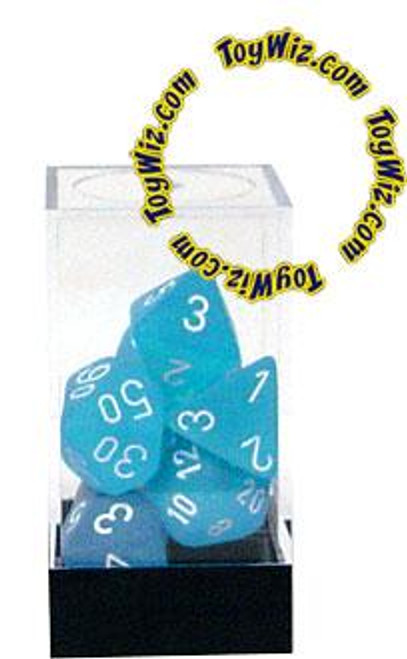 Chessex Frosted Polyhedral Dice [Caribbean Blue w/White]