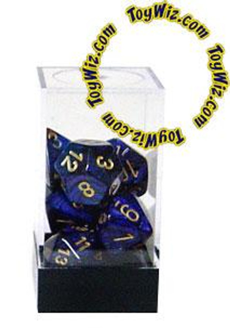 Chessex Scarab Polyhedral Dice [Royal Blue w/Gold]