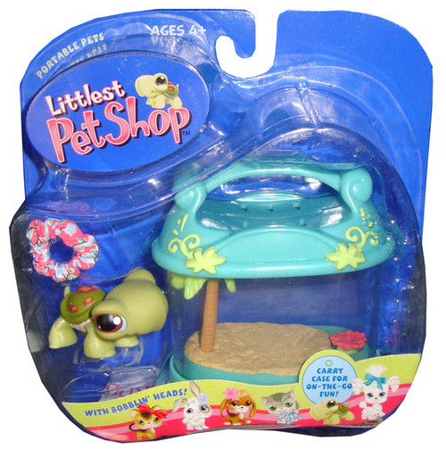 Littlest Pet Shop Portable Pets Turtle Figure [Carry Case & Pop Up Frog]