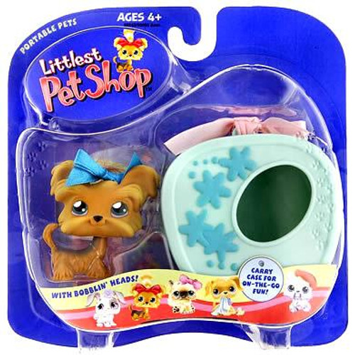 Littlest Pet Shop Portable Pets Shihtzu Puppy Dog Figure [Blue Carry Case]