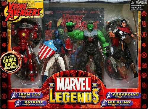 Marvel Legends Young Avengers Iron Lad, Patriot, Asgardian & Hulkling Action Figure 4-Pack
