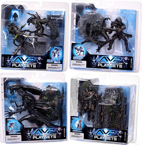 McFarlane Toys Alien vs Predator Alien vs. Predator Movie Playsets Alien vs. Predator Series 2 Set of 4 Action Figure Sets