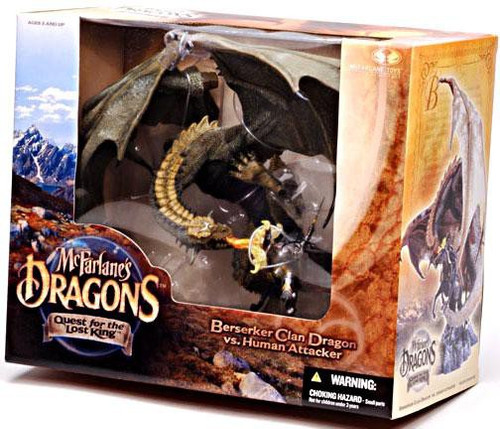 McFarlane Toys McFarlane's Dragons Quest for the Lost King Series 1 Berserker Clan Dragon vs. Human Attacker Action Figure Set