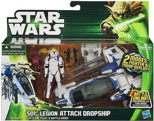 Star Wars Attack of the Clones Vehicles & Action Figure Sets 2013 501st Legion Attack Dropship with Clone Pilot & Battle Droid Action Figure Set
