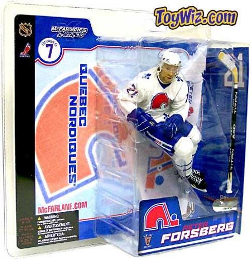 McFarlane Toys NHL Quebec Nordiques Sports Picks Series 7 Peter Forsberg Action Figure [Retro White Jersey Variant]