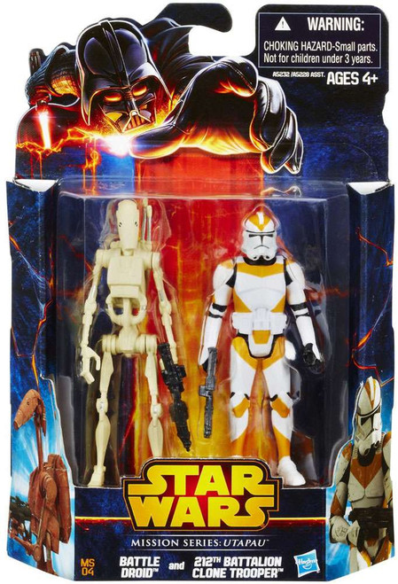 Star Wars Revenge of the Sith Mission Series 2013 Battle Droid & 212th Battalion Clone Trooper Action Figure 2-Pack MS04 [Utapau]