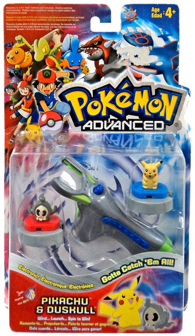 Pokemon Advanced Electronic Turbo Tops Pikachu & Duskull Launchers