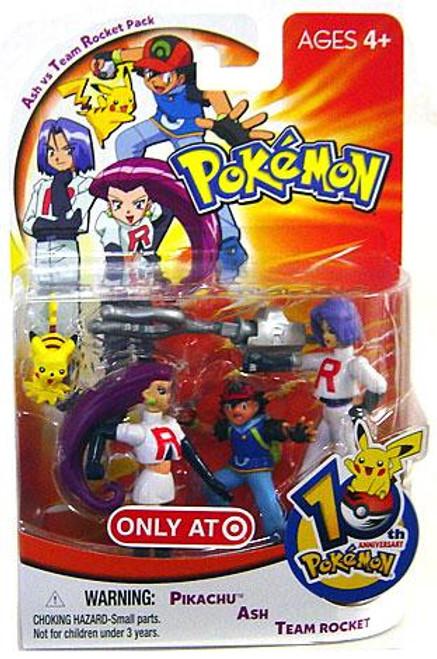 Pokemon 10th Anniversary Ash vs Team Rocket Pack Exclusive Mini Figure 4-Pack