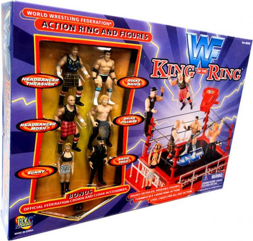 WWE Wrestling WWF Playsets King of the Ring Action Ring and Figures Action Figure Playset