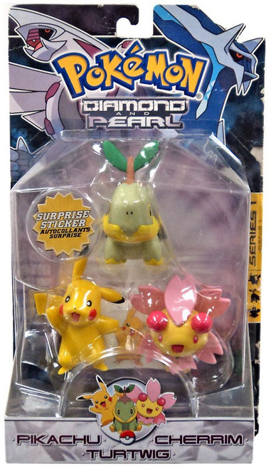 Pokemon Diamond & Pearl Series 1 Pikachu, Cherim & Turtwig Figure 3-Pack