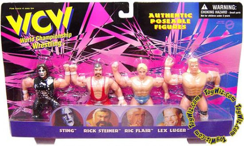 WWE Wrestling WCW Authentic Poseable Figures Set of 4 Mini Figures