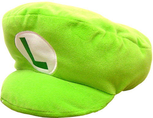 New Super Mario Bros Wii Luigi Pillow Hat 14-Inch Plush