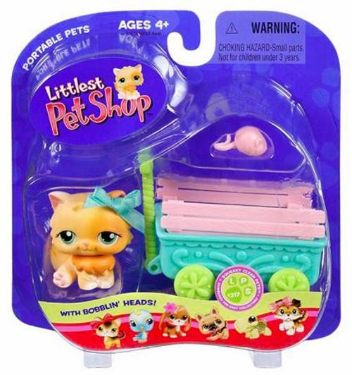 Littlest Pet Shop Portable Pets Cat Figure [Orange with Wagon]