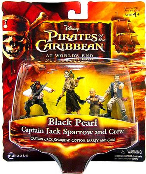 Pirates of the Caribbean At World's End Captain Jack Sparrow and Crew 3.75-Inch PVC FIgures [Black Pearl]