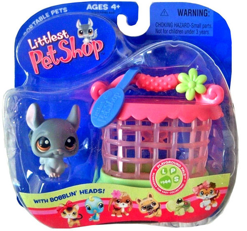 Littlest Pet Shop Portable Pets Chinchilla Figure [Gray with Hutch]