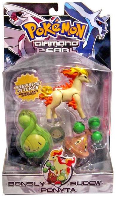 Pokemon Diamond & Pearl Series 2 Bonsly, Budew & Ponyta Figure 3-Pack
