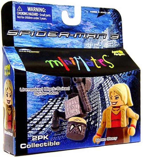 Spider-Man 3 Minimates Series 18 Unmasked Black-Suited Spider-Man & Gwen Stacy Minifigure 2-Pack