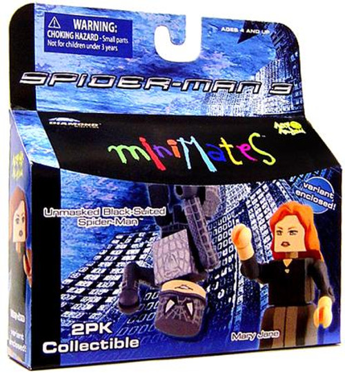 Spider-Man 3 Minimates Series 18 Unmasked Black-Suited Spider-Man & Variant Mary Jane Minifigure 2-Pack