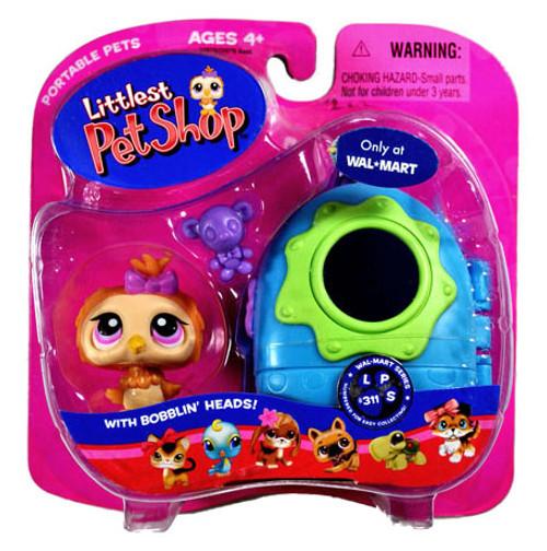 Littlest Pet Shop Portable Pets Owl Exclusive Figure #311 [Purple Bowtie and Carrier]