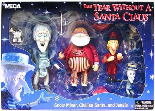 NECA The Year Without Santa Claus Snow Miser, Civilian Santa & Jangle Action Figure Set