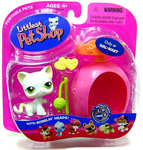 Littlest Pet Shop Portable Pets Cat Exclusive Figure #456 [White with Ball of Yarn]