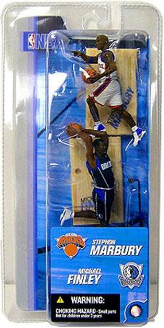 McFarlane Toys NBA New York Knicks / Dallas Mavericks Sports Picks 3 Inch Mini Series 2 Stephon Marbury & Michael Finley Mini Figure 2-Pack