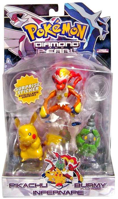 Pokemon Diamond & Pearl Series 4 Pikachu, Burmy [Plant Cloak] & Infernape Figure 3-Pack