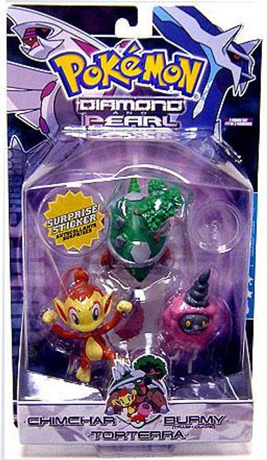 Pokemon Diamond & Pearl Series 4 Chimchar, Burmy [Trash Cloak] & Torterra Figure 3-Pack