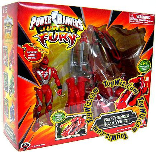 Power Rangers Jungle Fury Red Thunder Roar Vehicle Action Figure Vehicle