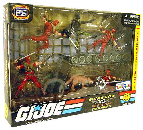 GI Joe 25th Anniversary Snake Eyes vs. Red Ninja Troopers Exclusive Action Figure Set