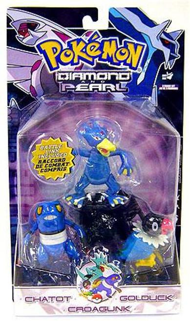 Pokemon Diamond & Pearl Series 6 Chatot, Golduck & Croagunk Figure 3-Pack