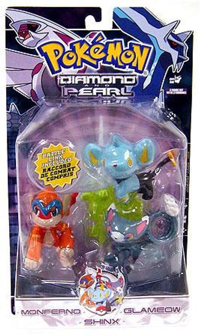 Pokemon Diamond & Pearl Series 6 Monferno, Glameow & Shinx Figure 3-Pack