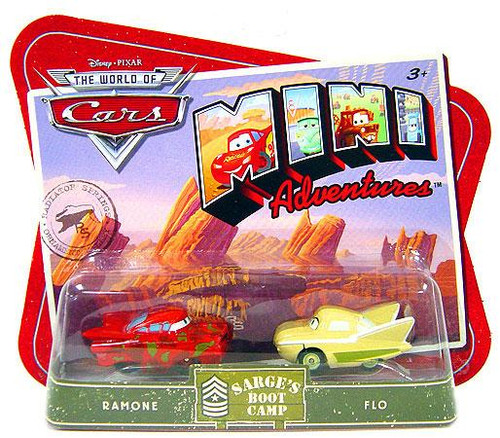 Disney Cars The World of Cars Mini Adventures Sarge's Boot Camp Plastic Car 2-Pack [Ramone & Flo]