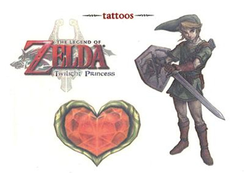 The Legend of Zelda Twilight Princess Link & Heart Container Temporary Tattoo #2