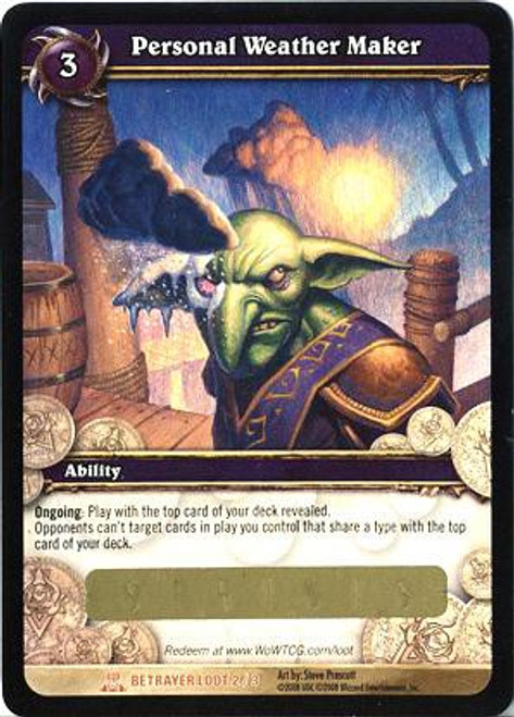World of Warcraft Trading Card Game Servants of the Betrayer Legendary Loot Personal Weather Maker #2