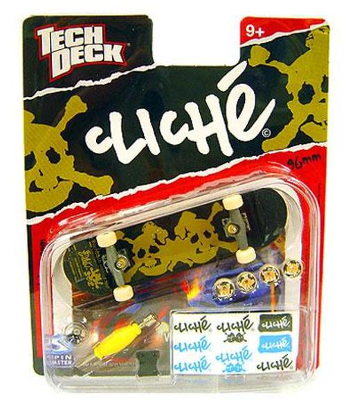 Tech Deck Cliche 96mm Mini Skateboard [Brown/Green Skull]