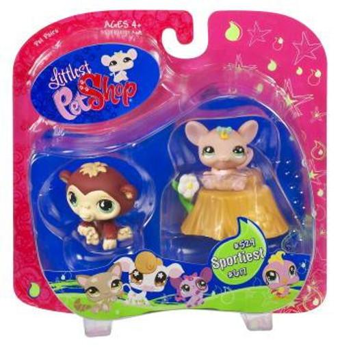 Littlest Pet Shop Pet Pairs Ape & Mouse Exclusive Figure 2-Pack #529, 617 [Flower]