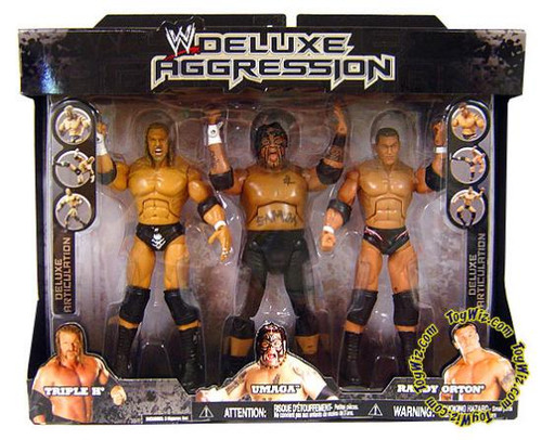 WWE Wrestling Deluxe Aggression Randy Orton, Triple H & Umaga Exclusive Action Figure 3-Pack